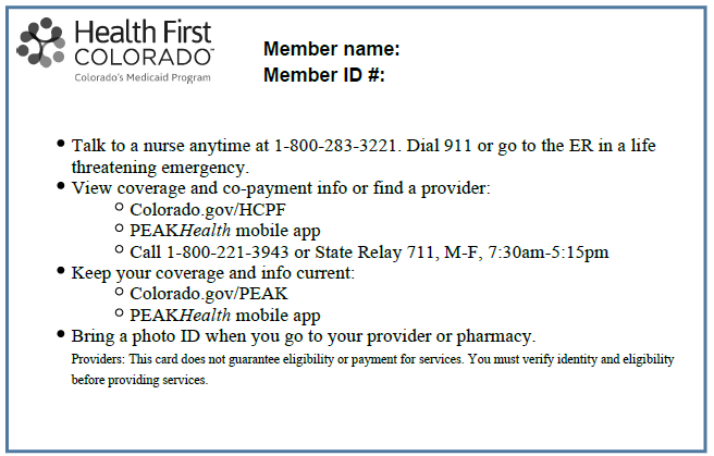 Health First Colorado Card