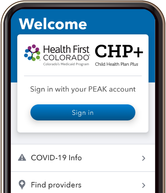 Health First Colorado App Welcome Screen